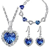 """Pauline & Morgen """"Blue Love"""" Jewellery Set for Women Bracelet Necklace Earrings made with Crystals from SWAROVSKI®"""