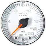 AUTO METER P310118 Gauge Pyrometer (EGT) (Spek-Pro 2 1/16', 2000ºf, Stepper Motorwith Peak & Warn, Wht/Chrm, Spek-Pro)