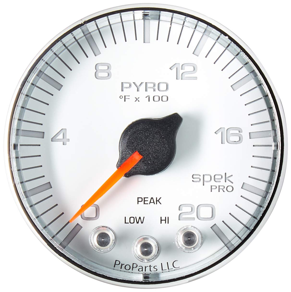 Auto Meter AutoMeter P310118 Gauge, Pyro. (Egt), 2 1/16'', 2000ºf, Stepper Motor W/Peak & Warn, Wht/Chrm, Spek-Pro