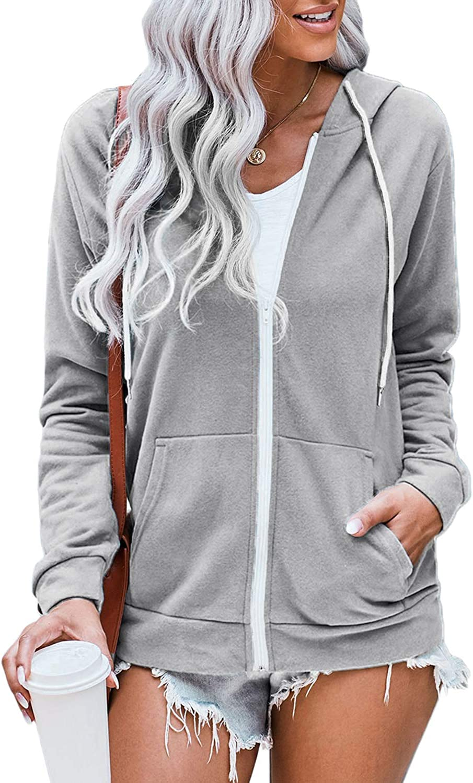 WROLEM Women Casual Full Zip Up Hoodie Comfy Loose Tie Dye Solid Sweatshirt Long Sleeve Jacket with Pockets