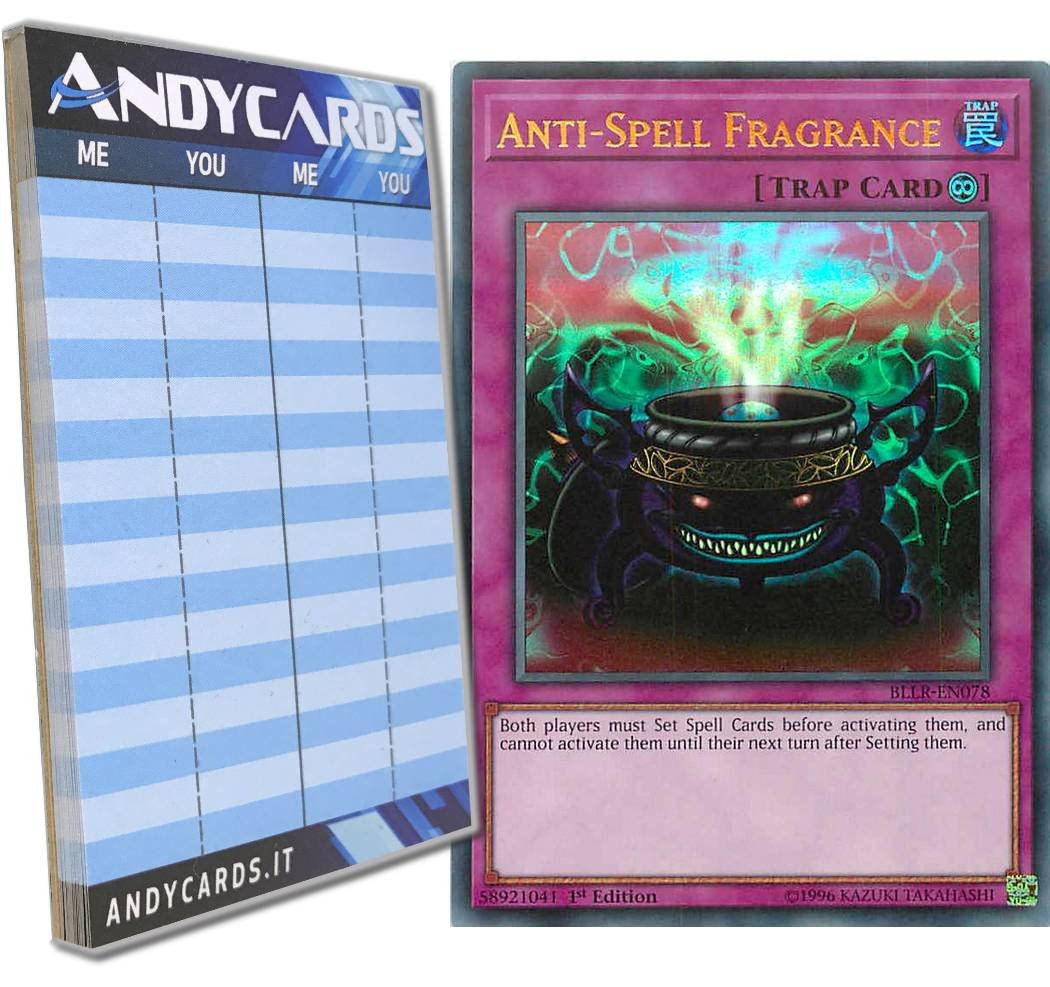Yu-Gi-Oh! - ANTI-SPELL FRAGRANCE - Ultra Rare BLLR-EN078 in ENGLISH + Andycards Scorepad