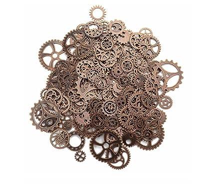 Outflower 80 Steampunk Cyberpunk Reloj Piezas Vintage Gears Ruedas Cogs Joyas DIY Artesanía. Medium Caoba