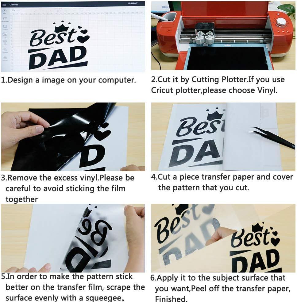 Hohofilm - 10 hojas de papel de vinilo adhesivo con cinta de transferencia, 8 x 12 pulgadas, color blanco y negro: Amazon.es: Juguetes y juegos