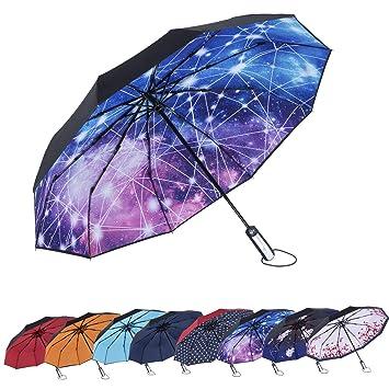 7620f8dac26a AmaGo Automatic Folding Umbrella - 10 Ribs Windproof,210T Water Repellent,  Auto Open & Close with Ergonomic Handle Traveling Umbrella
