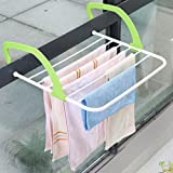 胜度 居家日用多功能暖气片晾晒架 阳台室内户外简易可折叠晾嗮架 (绿边)