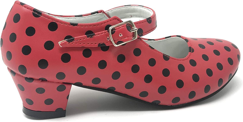 Zapato Flamenco Danza Baile Sevillanas niña Mujer Rojo Rosa Lunares Negros