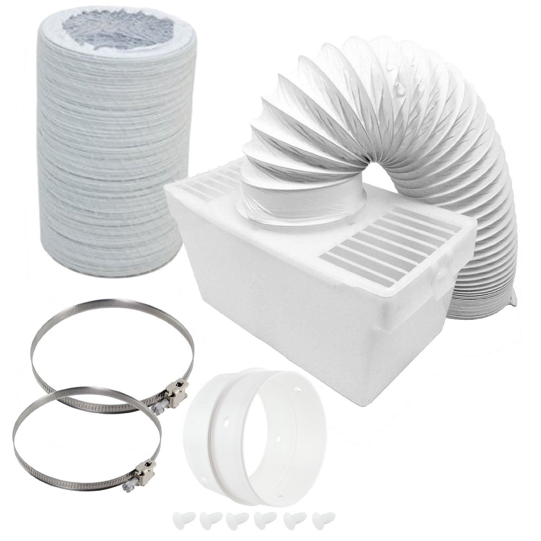 Spares2go, kit con scatola per condensatore e tubo flessibile extra lungo con anello di collegamento per asciugatrice di Hoover (tubo da 6 m x 100 mm di diametro)