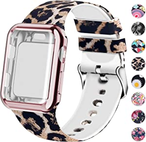 Compatible for Apple Watch Band 42mm Women with Screen Protector Case, Soft Silicone Sport Wristband for Apple Watch iwatch Series 3 2 1 (42mm,Leopard)