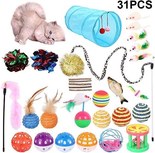 Jetcloud 31 piezas juguetes para gatos juguetes interactivos juegos gatos para gatos: Amazon.es: Productos para mascotas