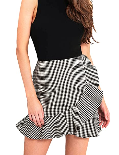 2b265c445 Women's High Waist Plaid Swing Ruffle Frill Mini Bodycon Skirt Gingham Dress  at Amazon Women's Clothing store: