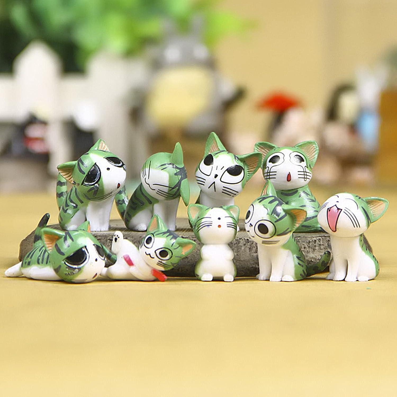 9pcs Mini PVC Cat Miniature Figurines, Mini Garden Cat Ornaments Animals Model, Miniature Garden Houses and Figurines DIY Micro Landscape Ornaments, Fairy Garden Supplies, Micro Landscape, Plant Pots