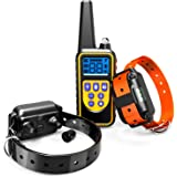 Dog Training Collar, F-color Waterproof and Rechargeable Dog Shock Collar 2600ft Remote Range with Beep Vibrating Shock LED Light for Medium and Large Dogs, Electronic Dog Collar for Training