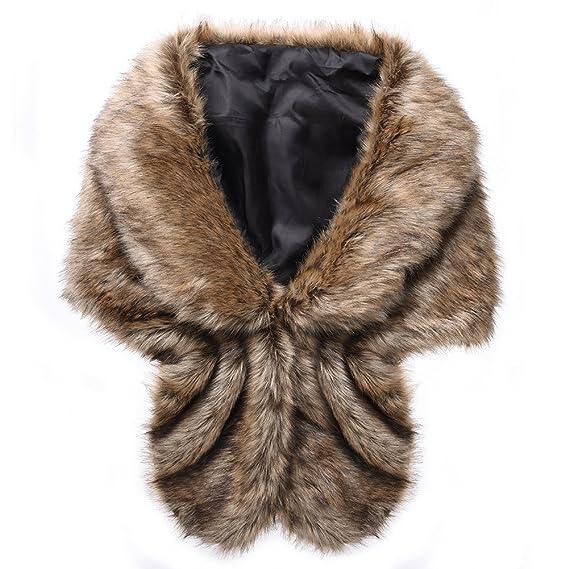 6e76ba514 Per Faux Fur Shawl Wrap Imitation Mink Fur Stole Elegant Winter Shrug For Wedding  Party Dress-Brown: Amazon.co.uk: Clothing