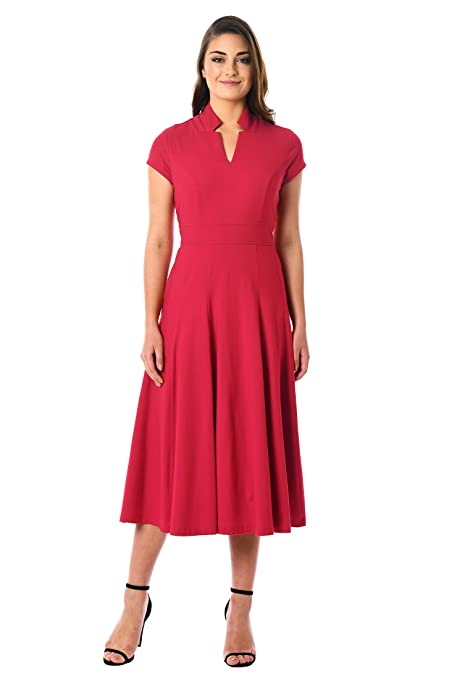 1940s Style Dresses | 40s Dress, Swing Dress eShakti Womens Notch Neck Cotton Knit Dress $59.95 AT vintagedancer.com