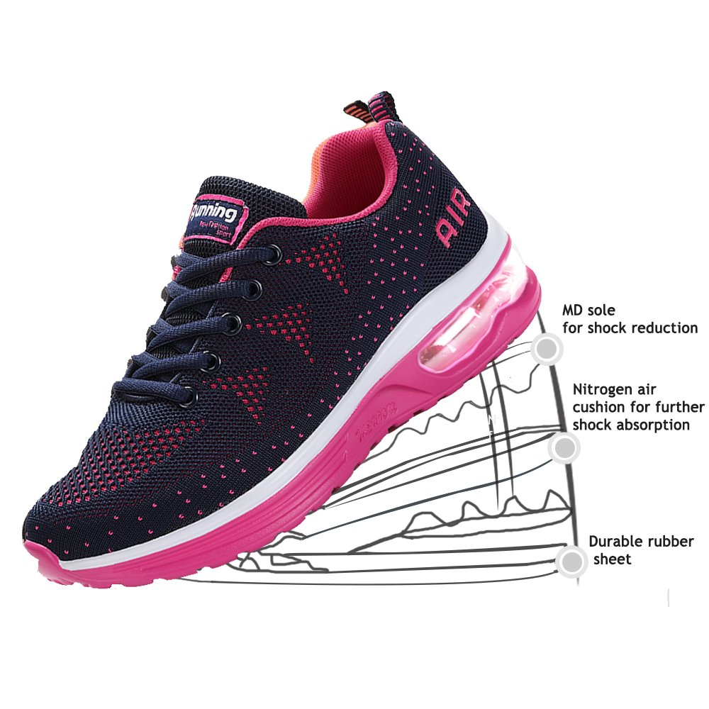 JACKSHIBO Women Lighweight Air Cushion Comfort Running Shoes B07D8GHNYK Women 8.5(m)B US|Wm Darkblue