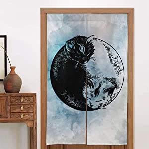 CHANGQUDD Ying Yang Cat Doorway Curtain Long Tapestry Door Curtains Decorations Dividers for Kitchen Bistro Partition Shading Home Decorative