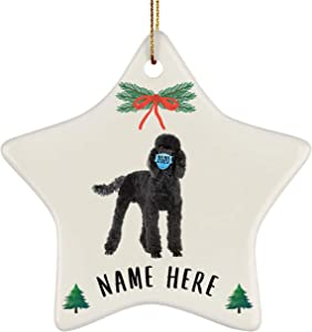 Lovesout Funny Personalized Name Standard Poodle Black Quarantine 2020 Star Ornament Christmas Tree