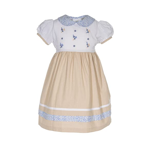 1930s Childrens Fashion: Girls, Boys, Toddler, Baby Costumes Carriage Boutique Tan Flowers Shortsleeve Dress $44.00 AT vintagedancer.com