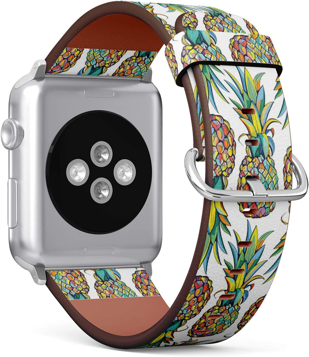 Compatible with Apple Watch 38mm & 40mm (Series 5, 4, 3, 2, 1) Leather Watch Wrist Band Strap Bracelet with Stainless Steel Clasp and Adapters (Pineapples)