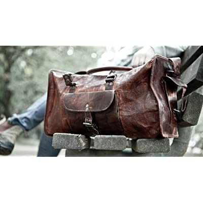 HLC Vintage Genuine Leather Handmade Vintage Duffel Luggage Travel Bag Duffel Gym Bag Yogo Bag Travelling Bag