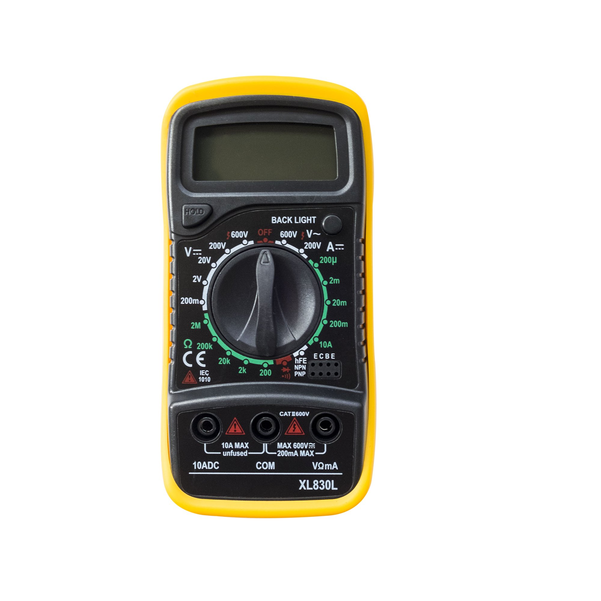 YAOGONG 830L Digital Multimeters Portable Multi Tester Voltmeter Ammeter Ohmmeter AC/DC Voltage DC Current Resistance Tester with Back light LCD Yellow(Warranty)