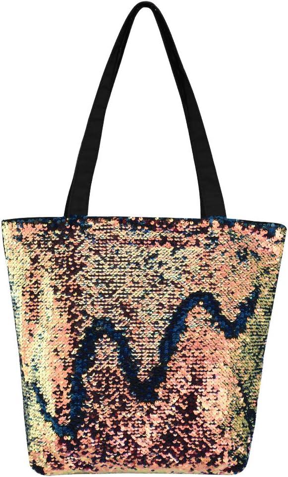 INSOUR Mode Tote Bag Paillettes R/éversible Sac Shopping Femme avec Zip pour Travail ou Vie Scolaire