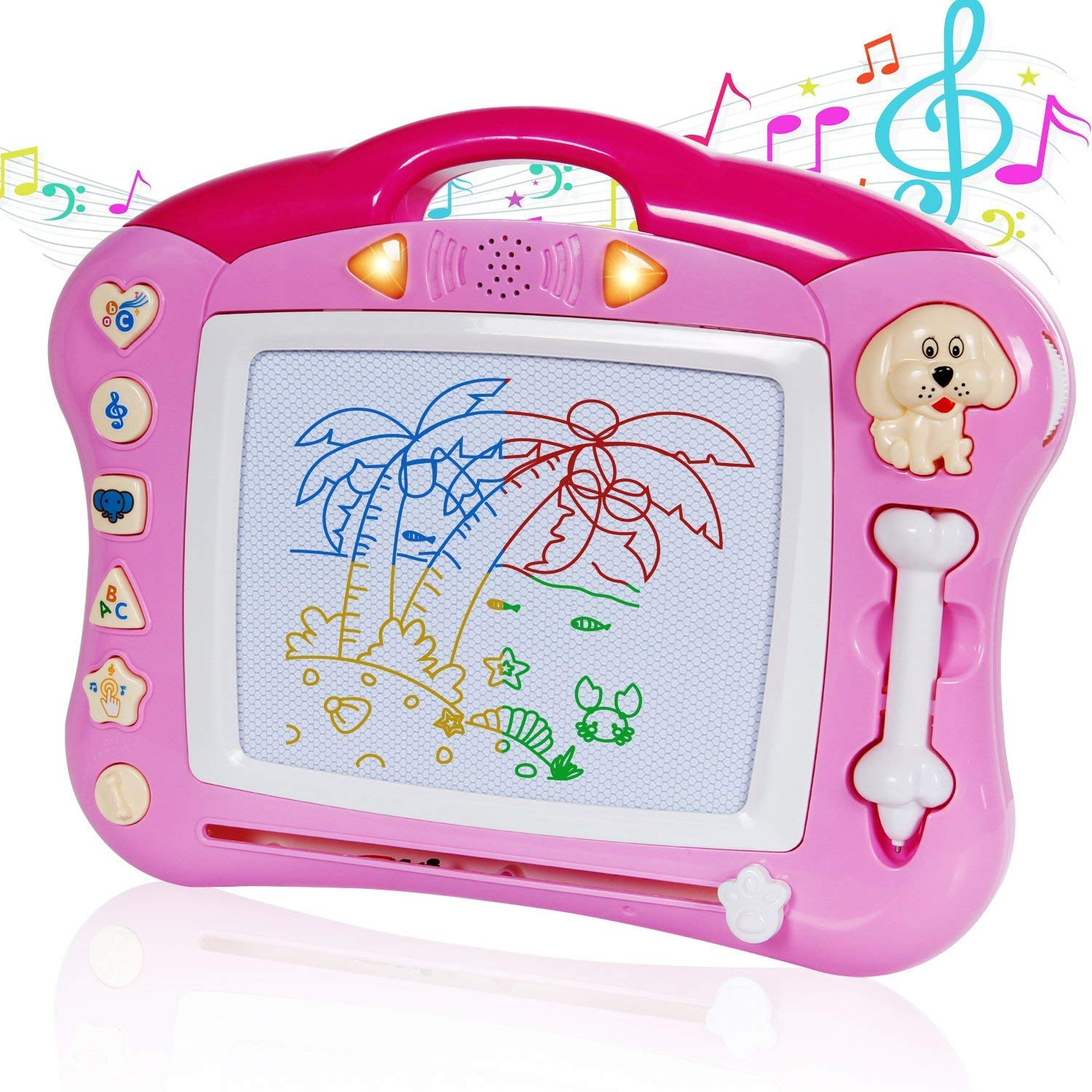 iFixer Magnetic Drawing Board, Musical Color Magna Doodle Writing Drawing Board with Light and Music Great Gift Presents For Boys And Girls 3+, Pink With Sounds