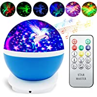 Night Light for Kids, Eichzhushp Unicorn Gift, Remote Control Star Moon Projector, 360 Degree Rotating Romantic Starry…