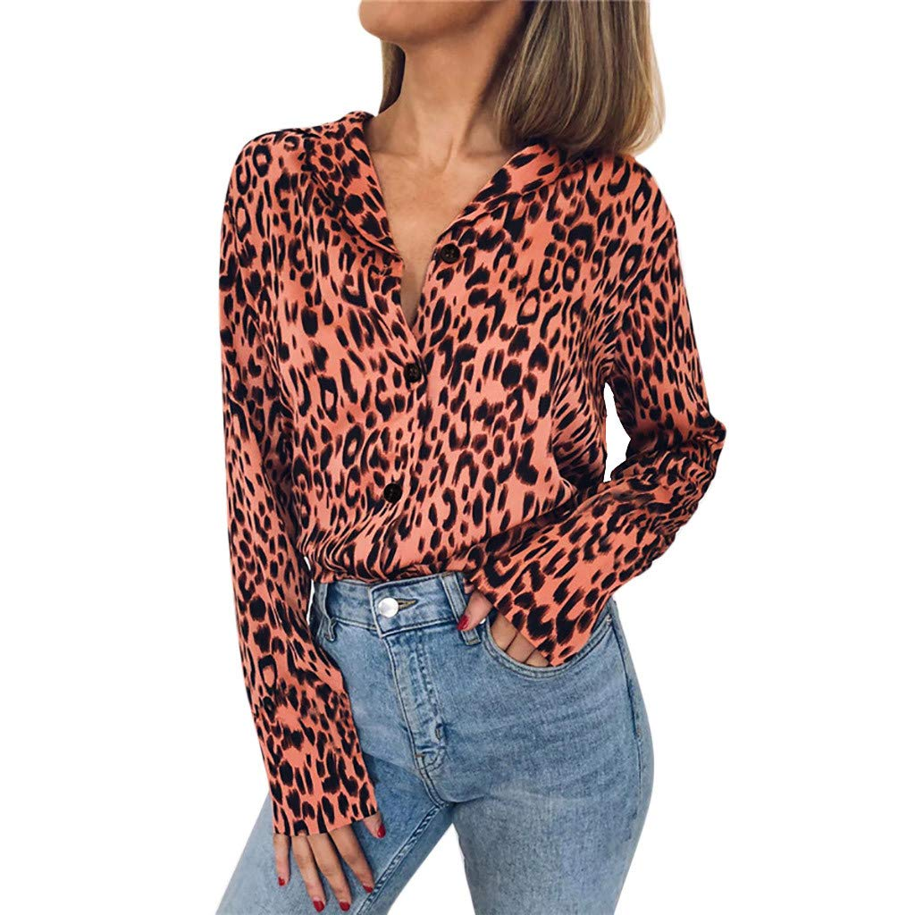 Women Sexy Leopard Shirts Long Sleeve Button Up Turn-Down Collar Fashion Loose Blouse Top(Pink,XL)