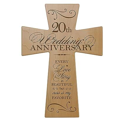 Amazon.com: 20th Wedding Anniversary Maple Wood Wall Cross Gift for ...