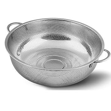 othermax 5-quart colador de cocina Colador de acero inoxidable - microperforado para frutas, verduras y arroz - Plata: Amazon.es: Hogar