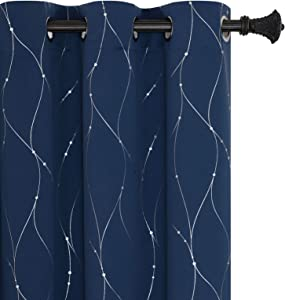 BUHUA Navy Blackout Curtains and Drapes Wave Line with Dots Printed Room Darkening Curtains for Baby Room Navy Blue 38W×63L 2 Panels