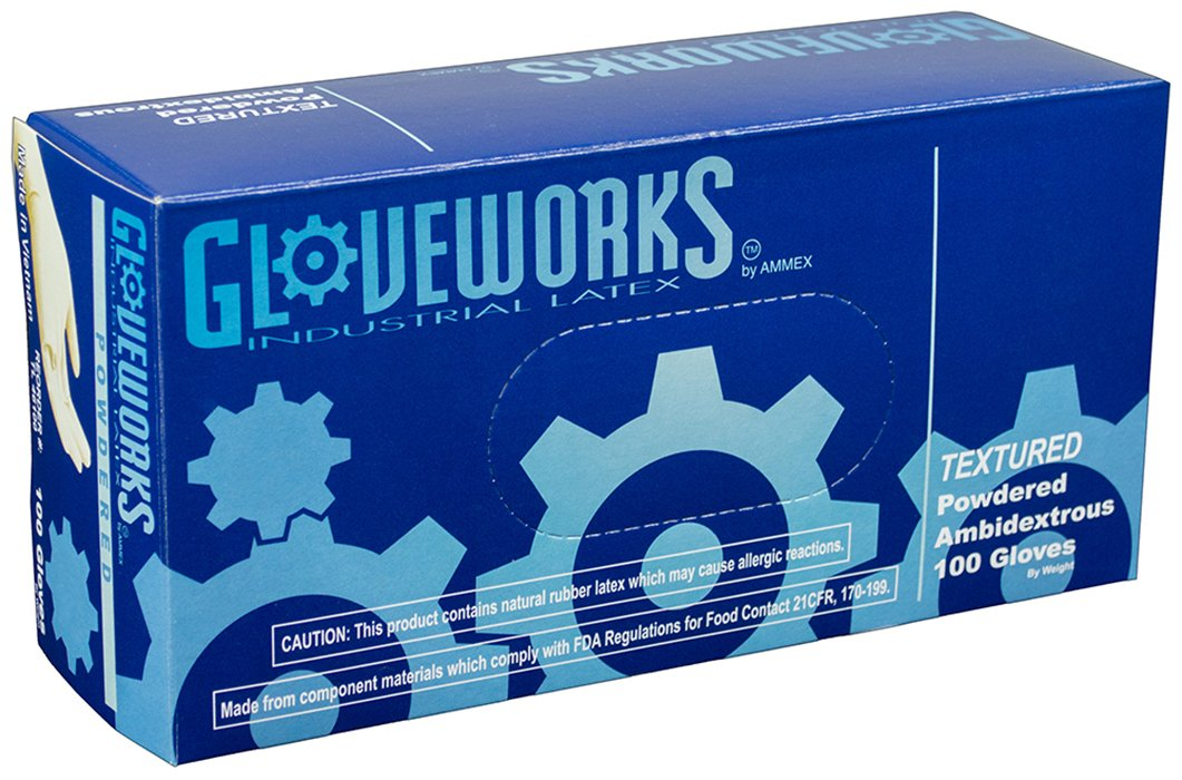 Gloveworks Powdered Box of 100 Small TL42100-BX Industrial 4 mil Disposable Latex Gloves AMMEX White
