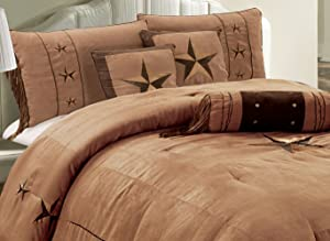 "Grand Linen 7 Piece Western Decor Lodge Oversize Queen (96""X96"") Comforter Set Taupe/Brown - Embroidered Lone Star Barbed Wire Micro Suede Bedding"