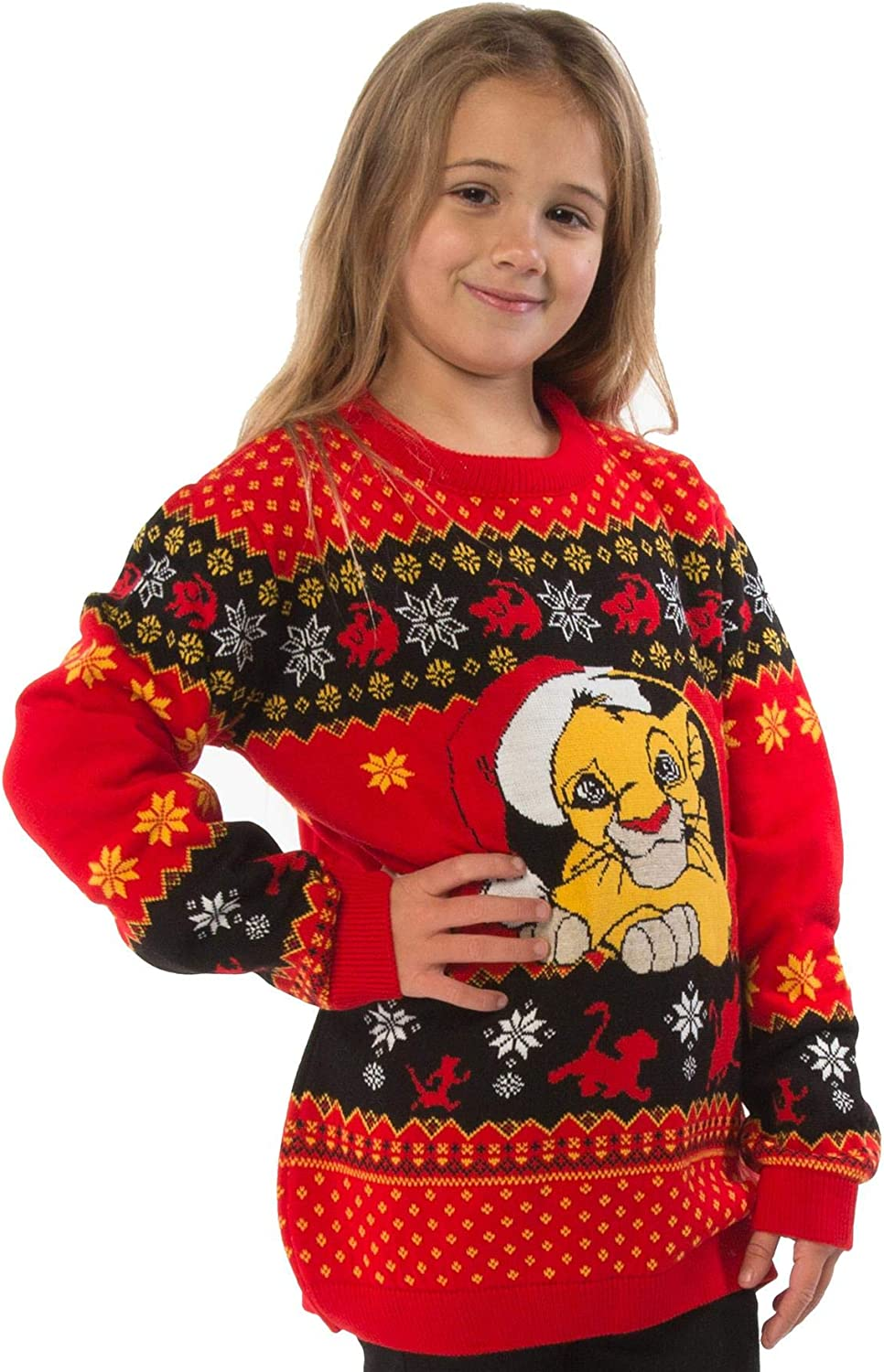 Official The Lion King Simba Childrens Red Knitted Christmas Jumper