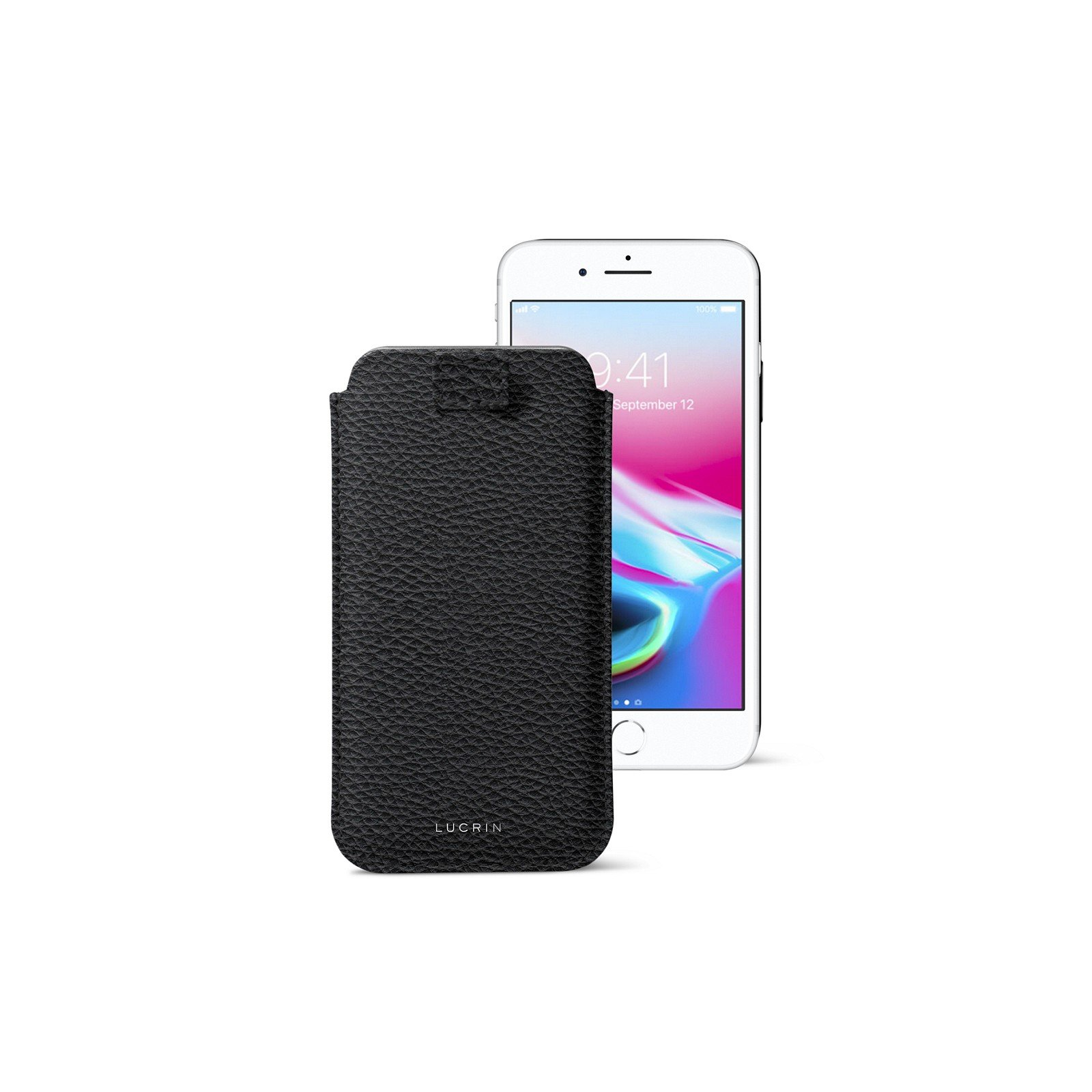 Lucrin - iPhone 8/7/ 6 Ultra Slim Compatible Sleeve, Protective Soft Case with Pull-Up Strap - Black - Granulated Leather