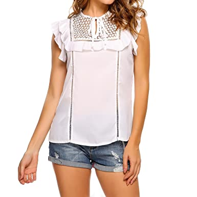 a3476d5a995e4 Zeagoo Womens Sleeveless Tank Tops Lace Splicing Ruffle Chiffon Blouses  S-XXL