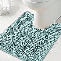 Toilet Mat U Shaped Bathroom Rugs Bath Mats for Bathroom Non Slip Luxury Chenille Bath Mat U Shape 50x50cm Extra Soft…