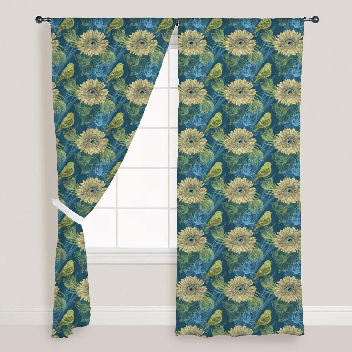 AZ Handdrawn Birds Door & Window Curtain Satin 4feet x 11feet; SET OF 3 PCS