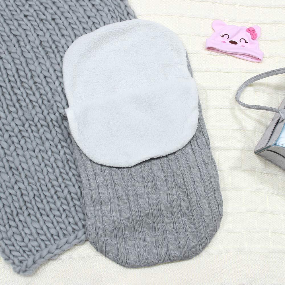 Beinou Baby Swaddle Blankets Unisex Thick Knit Newborn Sleeping Bag Velvet Fleece Baby Wrap Blanket 26.5 x 15 inch Sleep Sack Stroller for 0-12 Months Baby Girls Boys