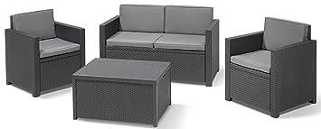 Amazon.de: Allibert 220025 Lounge Set Monaco mit Kissenbox-Tisch 2x ...