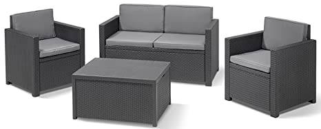 Amazon.de: Allibert 220025 Lounge Set Monaco mit Kissenbox-Tisch ...