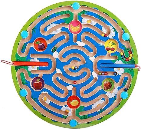 Cuentas magnéticas laberinto Rompecabezas de madera Laberinto Imán Lápiz Actividad de conducción Juego de mesa Educación Habilidades motoras finas Serie de frutas animales Niños Niñas Juguetes,E: Amazon.es: Deportes y aire libre