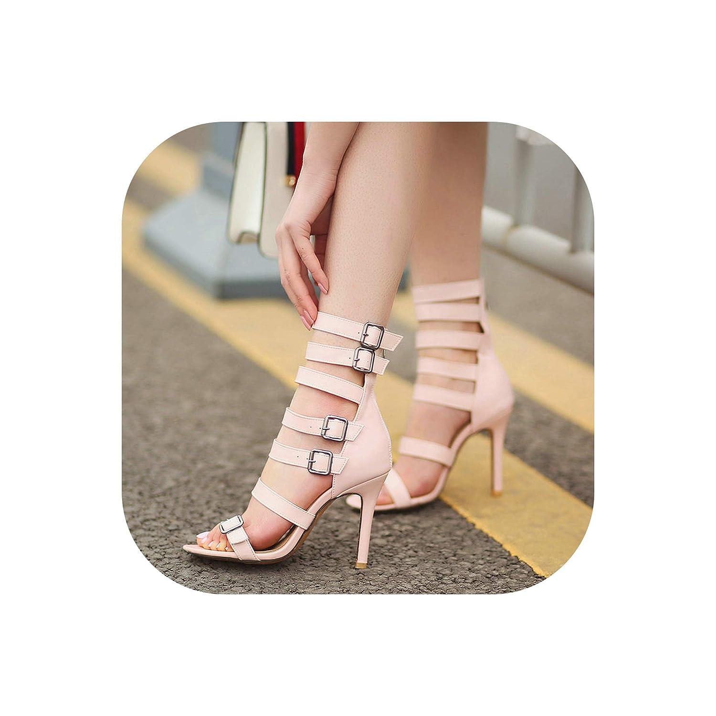 Pink Women Gladiator High Heel Sandals Fashion Zipper Open Toe Summer shoes Sexy Thin Heel Buckle Party Dress shoes Women Big Size