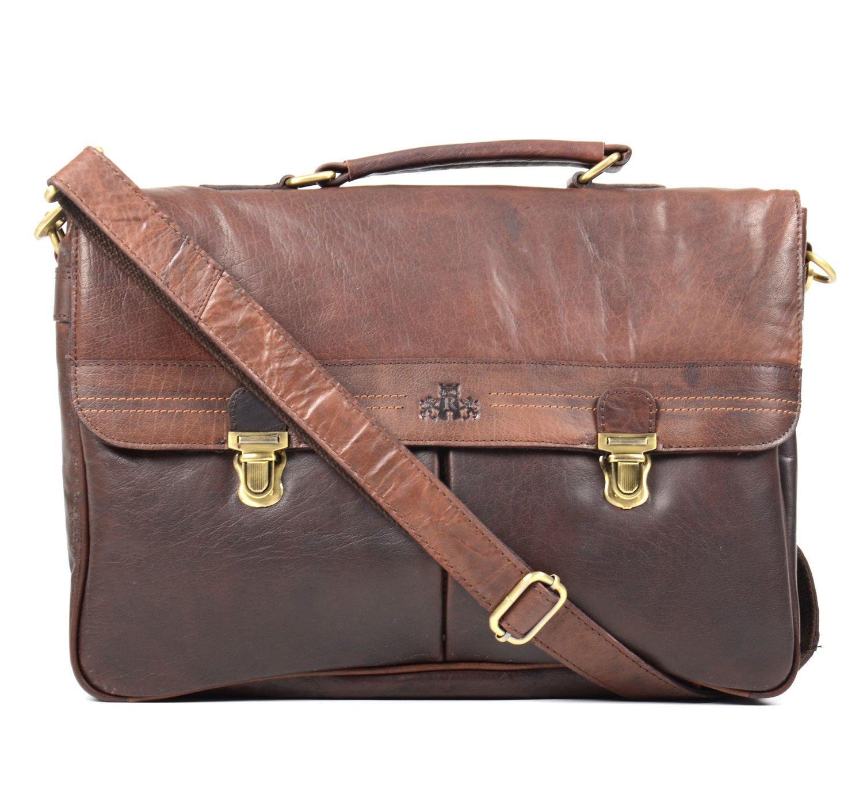 Rowallan Brown Classic Soft Leather Briefcase Rowallan Of Scotland