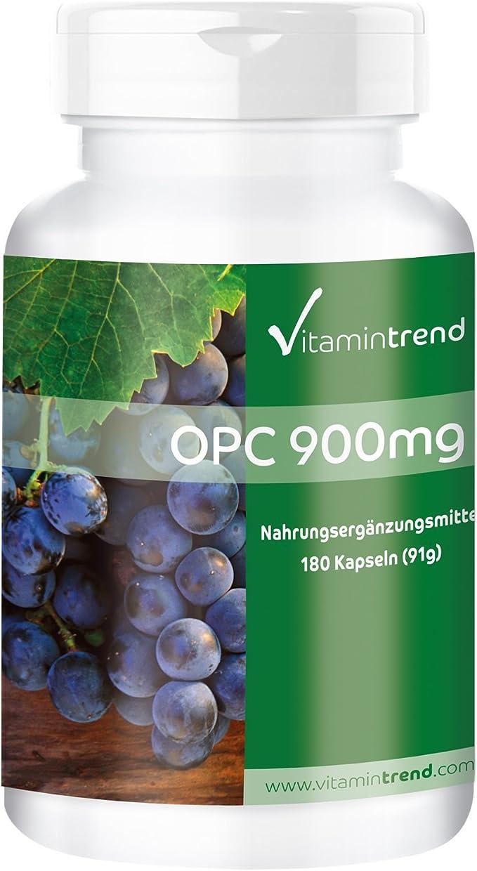 OPC 900 mg – Extracto de Semilla de Uva – 180 cápsulas – Vegano – 95% de OPC – Cápsulas antiedad