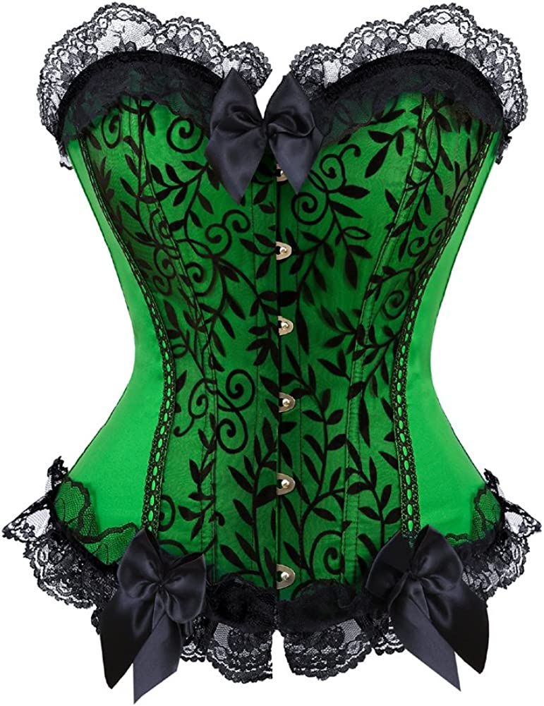 Womens Floral Black Lace Trim Corset Overbust Waist Cincher Bustier Top