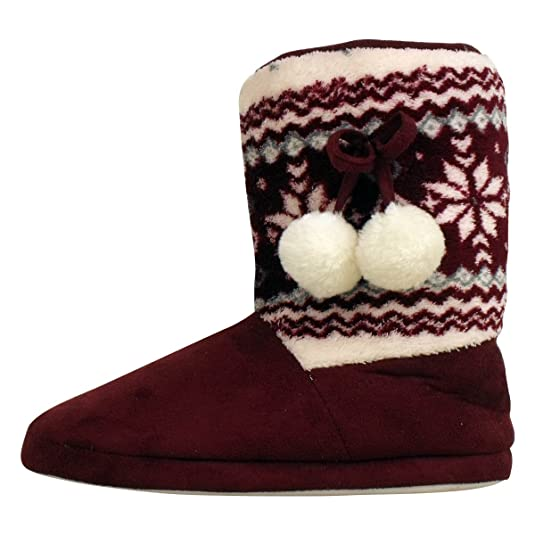 Ladies Dunlop Furry Ankle Bootee Slipper Womens Eskimo Slippers ...