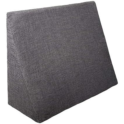 Jarrous Cojín con Forma de Cuña | Almohada Lectura Lumbar Triangular | Cojin Sofá y para Cama, Color Gris Oscuro, Medida 60x20x40cm
