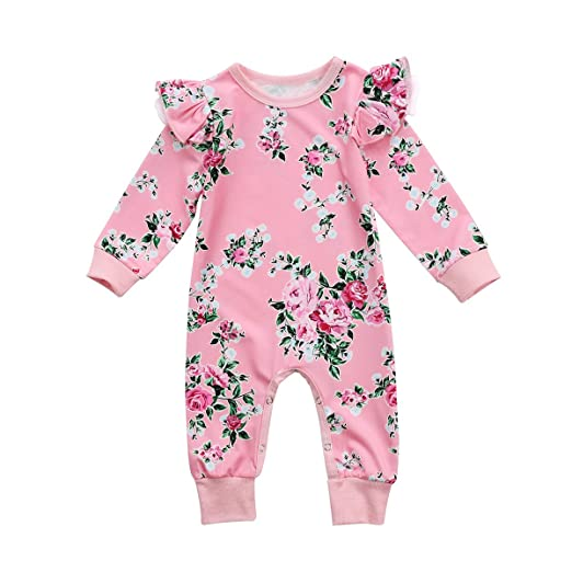 b82859daf1cf Toddler Baby Girls Pink Floral Print Long Sleeve Bodysuit Romper Jumpsuit  Playsuit Outfit Clothes Set (